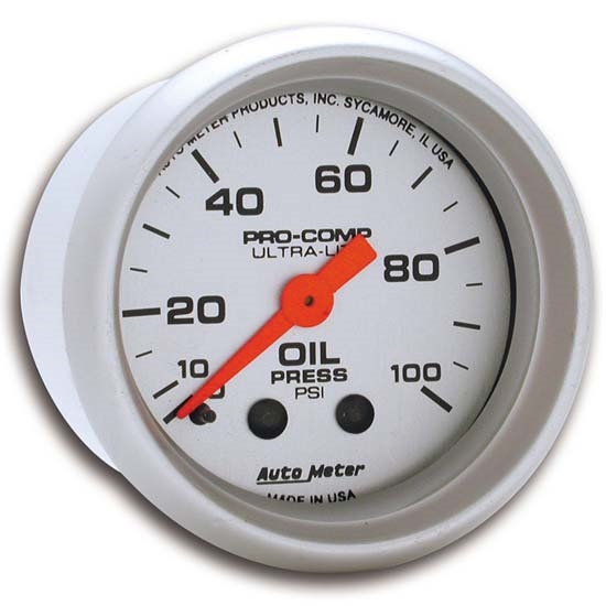 Autometer 4368 Ultra Lite Electric Water Pressure Gauge: Auto Meter 4321 Ultra-Lite Mech Oil Pressure Gauge, 100