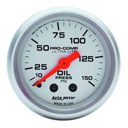 Auto Meter 4323 Ultra-Lite Mech Oil Pressure Gauge, 150 PSI, 2-1/16