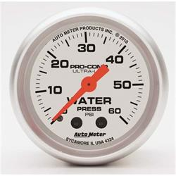 Auto Meter 4324 Ultra-Lite Mech Water Pressure Gauge, 60 PSI, 2-1/16