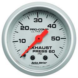 Auto Meter 4325 Ultra-Lite Mech Exhaust Pressure Gauge, 60PSI, 2-1/16