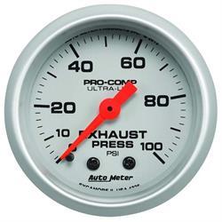 Auto Meter 4326 Ultra-Lite Mech Exhaust Pressure Gauge, 100PSI, 2-1/16