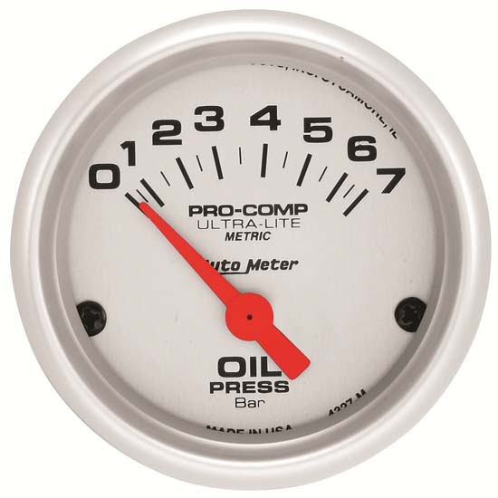 Autometer 4368 Ultra Lite Electric Water Pressure Gauge: Auto Meter 4327-M Ultra-Lite Air-Core Oil Pressure Gauge