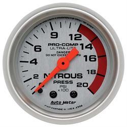 Auto Meter 4328 Ultra-Lite Mech Nitrous Pressure Gauge, 2000PSI,2-1/16