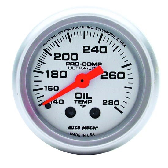 Auto Meter 4341 Ultra-Lite Mechanical Oil Temperature Gauge, 2-1/16