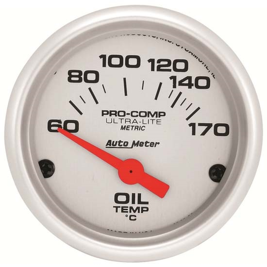 Auto Meter 4348-M Ultra-Lite Air-Core Oil Temperature Gauge, 2-1/16