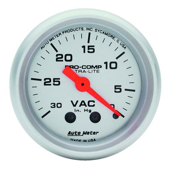 AutoMeter 4384 Ultra-Lite Mechanical Vacuum Gauge, 2-1/16 Inch