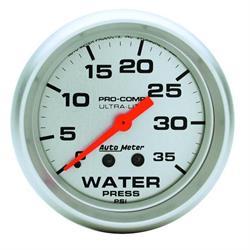 Auto Meter 4407 Ultra-Lite Mech Water Pressure Gauge, 35 PSI, 2-5/8