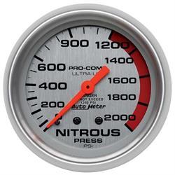 Auto Meter 4428 Ultra-Lite Mech Nitrous Pressure Gauge, 2000PSI, 2-5/8