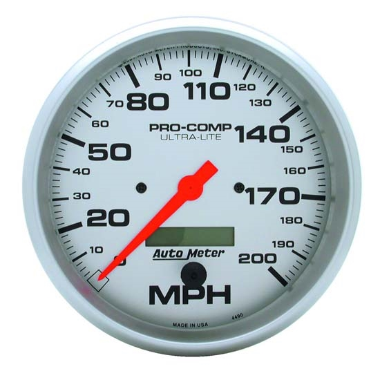 Auto Meter 4490 Ultra-Lite Air-Core Speedometer, 200 MPH, 5 Inch