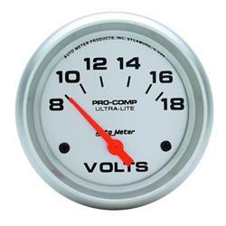 Auto Meter 4491 Ultra-Lite Air-Core Voltmeter Gauge, 2-5/8 Inch
