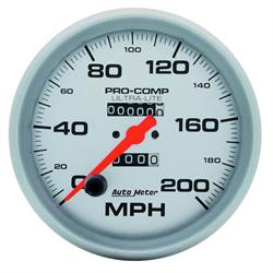 AutoMeter 4496 Ultra-Lite Mechanical Speedometer, 200 MPH, 5 Inch
