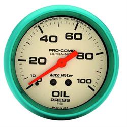 Auto Meter 4521 Ultra-Nite Mechanical Oil Pressure Gauge, 2-5/8""