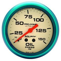 Auto Meter 4523 Ultra-Nite Mechanical Oil Pressure Gauge, 2-5/8 Inch