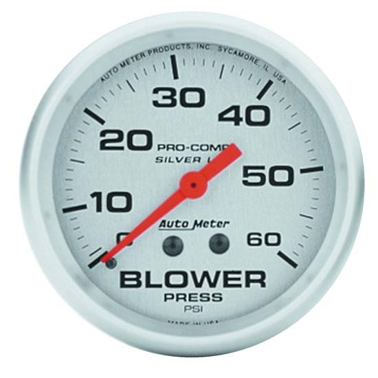 Auto Meter 4602 Ultra-Lite Mech Blower Pressure Gauge, 60 PSI, 2-5/8