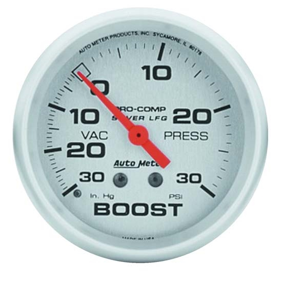 Auto Meter 4603 Ultra-Lite Mechanical Boost/Vacuum Gauge, 2-5/8 Inch