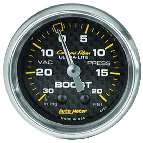Auto Meter 4701 Carbon Fiber Mechanical Boost/Vacuum Gauge, 2-1/16 In.