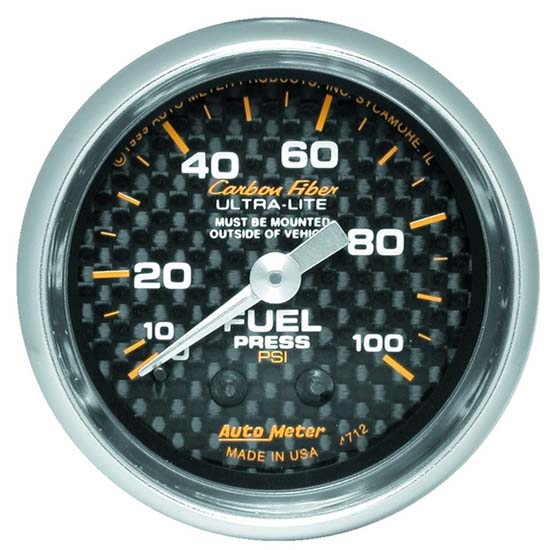 Auto Meter 4712 Carbon Fiber Mechanical Fuel Pressure Gauge