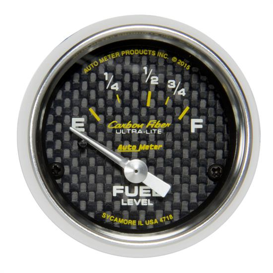 Auto Meter 4718 Carbon Fiber Fuel Level Gauge, 2-1/16, 16/158 Ohm, Flat