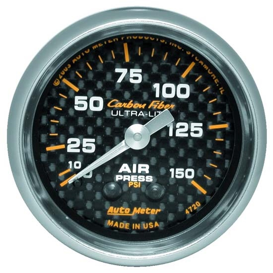 Auto Meter 4720 Carbon Fiber Mechanical Air Pressure Gauge, 2-1/16 In.