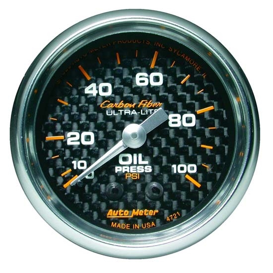 Auto Meter 4721 Carbon Fiber Mechanical Oil Pressure Gauge, 2-1/16 In.