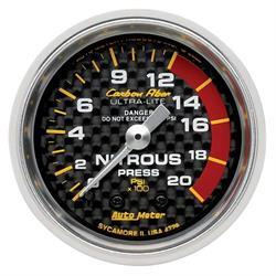 Auto Meter 4728 Carbon Fiber Mechanical Nitrous Pressure Gauge
