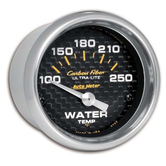Auto Meter 4737 Carbon Fiber Air-Core Water Temperature Gauge