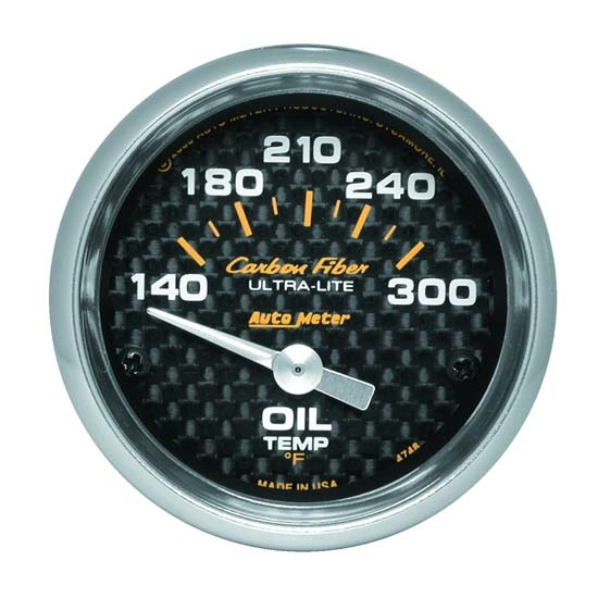 Auto Meter 4748 Carbon Fiber Air-Core Oil Temperature Gauge, 2-1/16 In