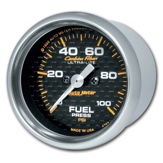 Auto Meter 4763 Carbon Fiber Digital Stepper Motor Fuel Pressure Gauge