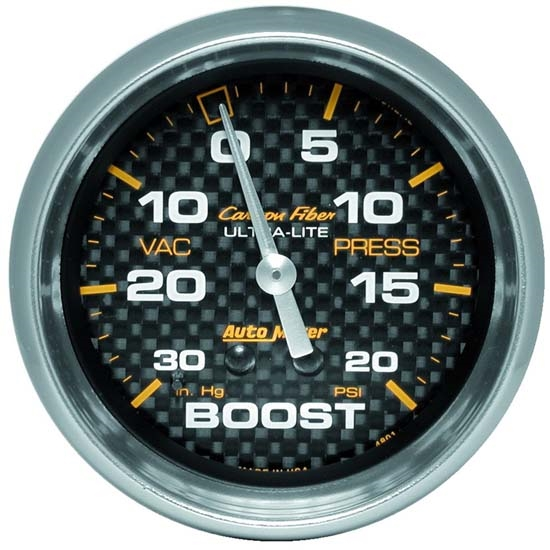 Auto Meter 4801 Carbon Fiber Mechanical Boost/Vacuum Gauge, 2-5/8 Inch