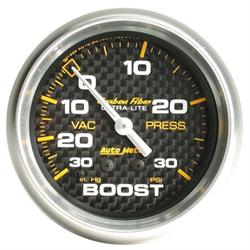Auto Meter 4803 Carbon Fiber Mechanical Boost/Vacuum Gauge, 2-5/8 Inch