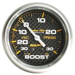 Auto Meter 4803 Carbon Fiber Mechanical Boost/Vacuum Gauge, 2-5/8 Inch