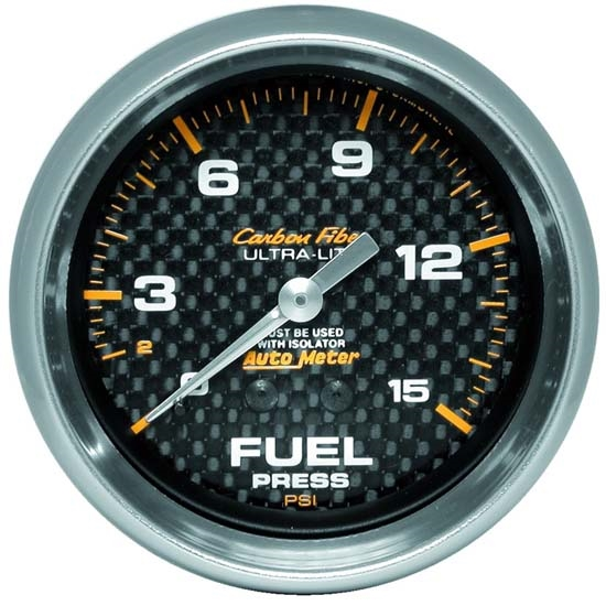 Auto Meter 4813 Carbon Fiber Mechanical Fuel Pressure Gauge w/Isolator