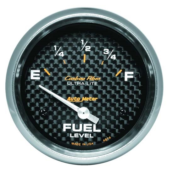 Auto Meter 4814 Carbon Fiber Air-Core Fuel Level Gauge, 2-5/8 Inch
