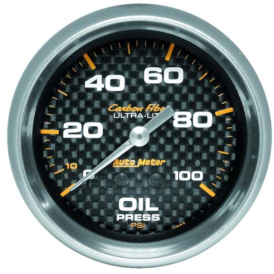 Auto Meter 4821 Carbon Fiber Mechanical Oil Pressure Gauge, 2-5/8 Inch