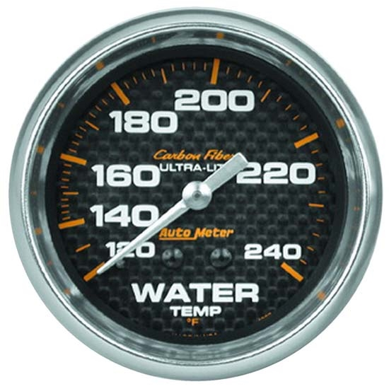 Auto Meter 4832 Carbon Fiber Mechanical Water Temperature Gauge