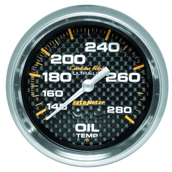 Auto Meter 4841 Carbon Fiber Mechanical Oil Temperature Gauge