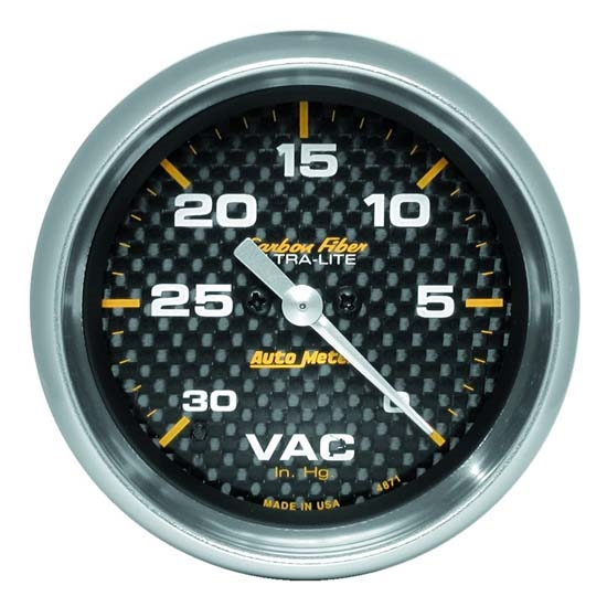 AutoMeter 4871 Carbon Fiber Digital Stepper Motor Vacuum Gauge