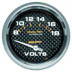 Auto Meter 4891 Carbon Fiber Air-Core Voltmeter Gauge, 2-5/8 Inch
