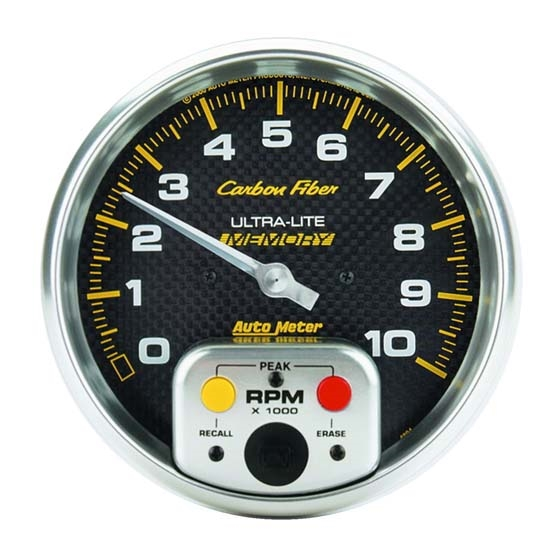 Auto Meter 4894 Carbon Fiber Air-Core In-Dash Tachometer Gauge