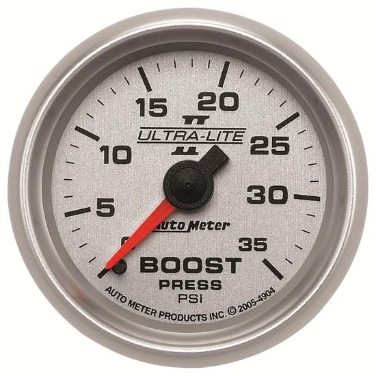 Auto Meter 4904 Ultra-Lite II Mechanical Boost Gauge, 35 PSI, 2-1/16