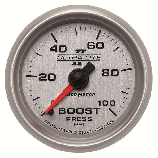 Auto Meter 4906 Ultra-Lite II Mechanical Boost Gauge, 100 PSI, 2-1/16
