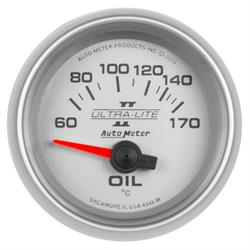 Auto Meter 4948-M Ultra-Lite II Oil Temp Gauge, 2-1/16, 60-170 Deg.