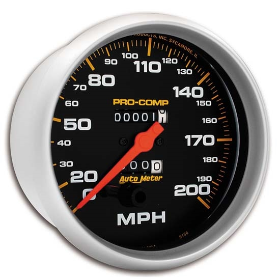 Auto Meter 5156 Pro-Comp Mechanical Speedometer, 200 MPH, 5 Inch