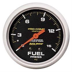 Auto Meter 5411 Pro-Comp Mechanical Fuel Pressure Gauge, 15 PSI, 2-5/8