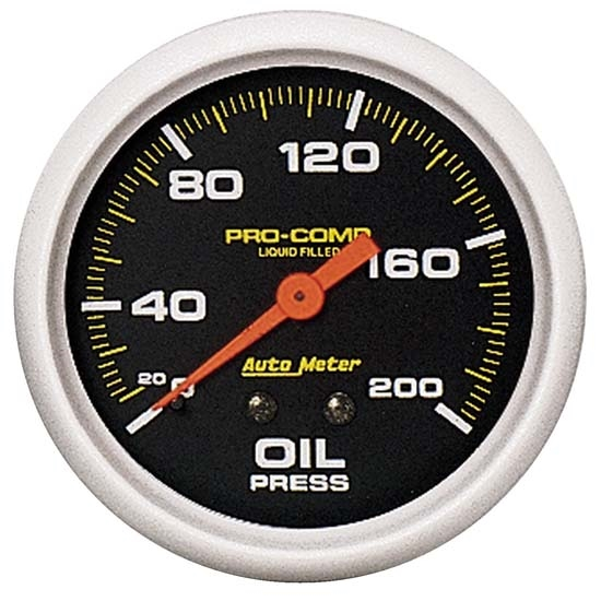 Auto Meter 5422 Pro-Comp Mechanical Oil Pressure Gauge, 200 PSI, 2-5/8