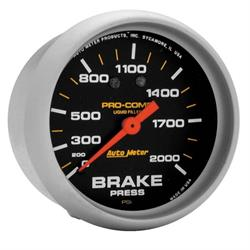 Auto Meter 5426 Pro-Comp Mechanical Brake Pressure Gauge, 2-5/8 Inch