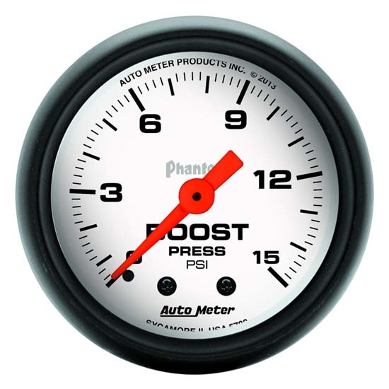 Auto Meter 5702 Phantom Mechanical Boost Gauge, 2-1/16 Inch