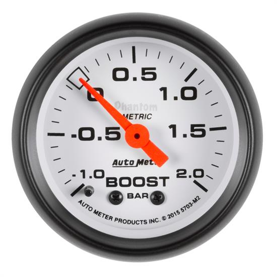 Auto Meter 5703-M2 Phantom Boost/Vacuum Gauge, 2-1/16, -1-+2 BAR, Flat