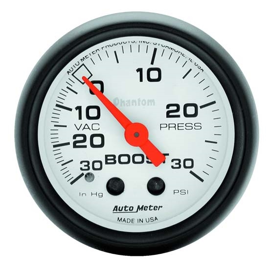 AutoMeter 5703 Phantom Mechanical Boost/Vacuum Gauge, 2-1/16 Inch