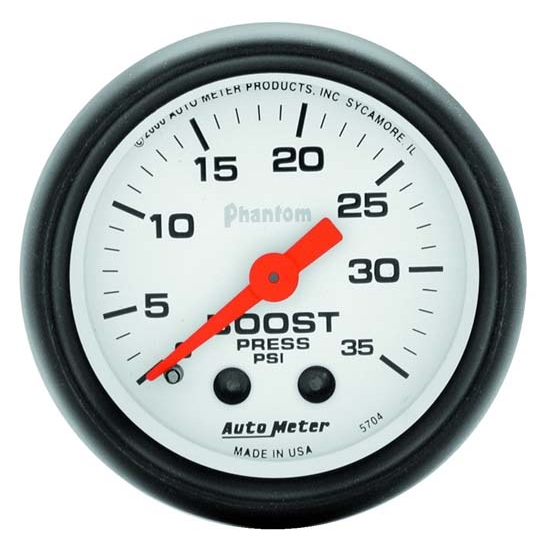 Auto Meter 5704 Phantom Mechanical Boost Gauge, 35 PSI, 2-1/16 Inch